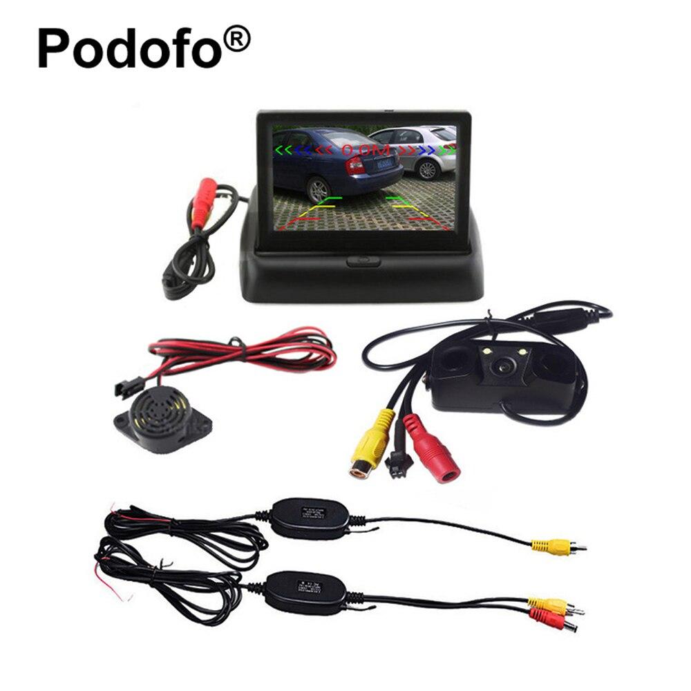Sans fil De Voiture Détecteurs de Radar De Véhicule Caméra De Recul avec Vision Nocturne 3 pouce Pliable LCD Arrière View Monitor Car styling
