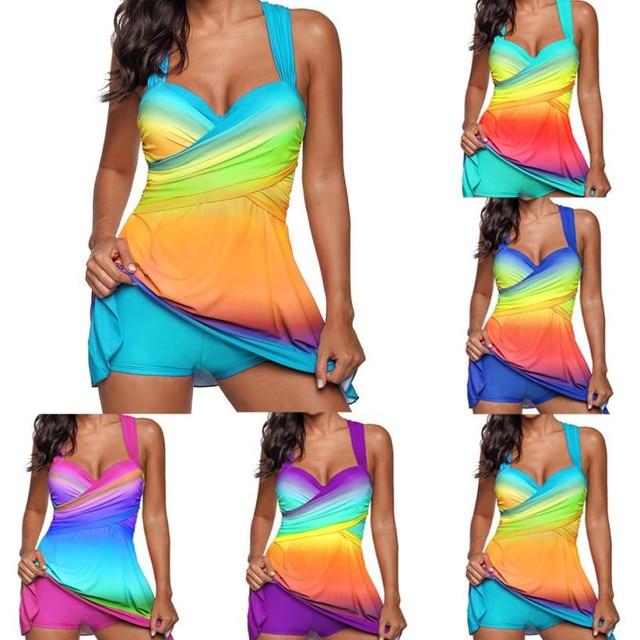 Rainbow Lady Swimdress Tankini Swimsuit Beachwear Padded Swimwear Plus Ukuran Biki kolam untuk wanita plus ukuran dua potong
