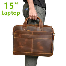 Luxury Natural Vintage Crazy Horse Leather Men's Briefcase Big 15
