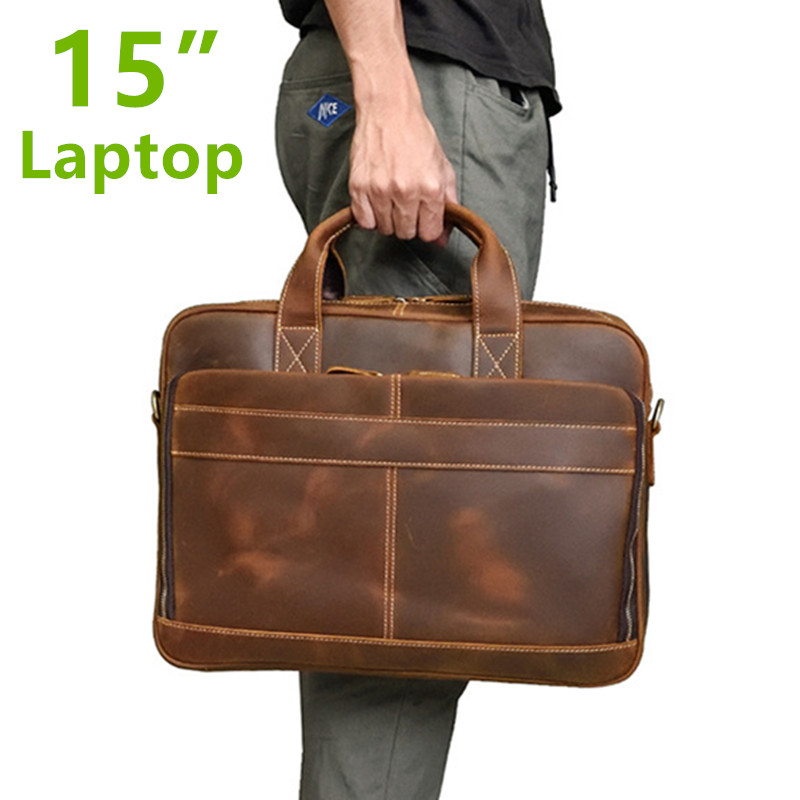 Luxury Natural Vintage Crazy Horse Leather Men's Briefcase Big 15
