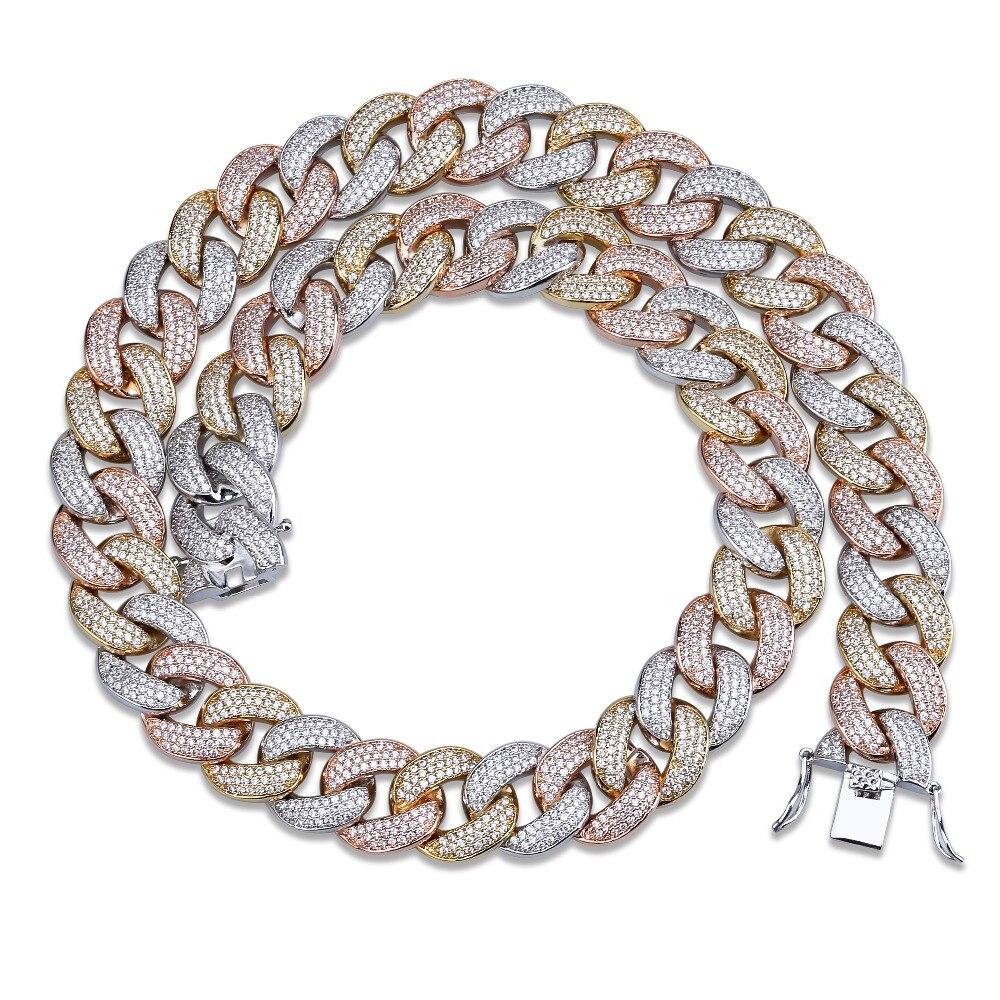 """Maimi chaîne à maillons cubains collier hommes Hip Hop couleur or glacé cubique Zircon colliers bijoux cadeaux 16 """"-30"""""""