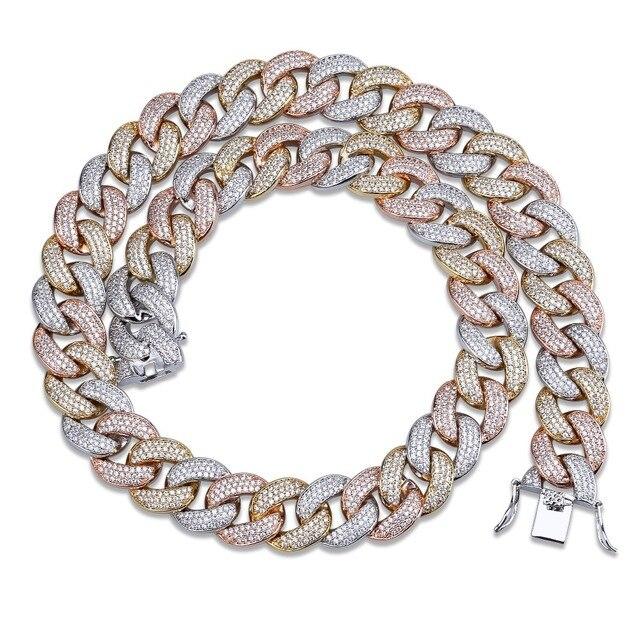 """Maimi cubana link corrente colar hip hop cor ouro dos homens iced para fora zircão cúbico colares jóias presentes 16 """" 30"""""""