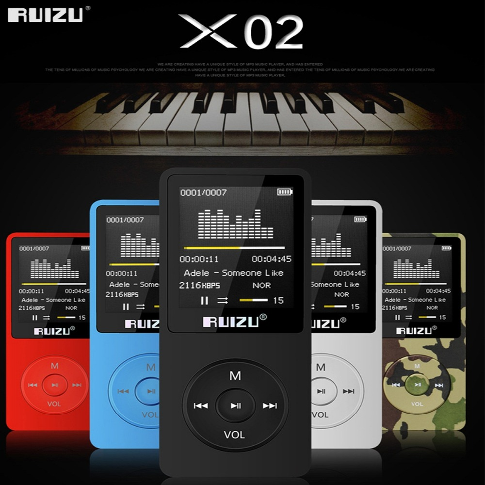 English version RUIZU X02 MP3 Player 4G/8G/16G Portable Mp3 Can Play 80 hours With FM Radio E-Book,Clock Voice Recorder Free original ruizu x02 mp3 8gb untrathin protable mp3 player 80hours play music player with 1 8inch screen fm e book clock recorder