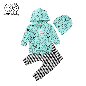 2018 Latest Children's Wear Newborn Toddler Infant Baby Boy Girl Clothes Cute Bear Hooded Tops Pants Outfits Set Tracksuit 0-24M