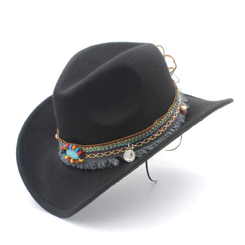 Child Wool Hollow Western Cowboy Hat With Tassel Belt Kids Girl Jazz Hat Cowgirl Sombrero Cap Size 52-54CM For 4-8 Years