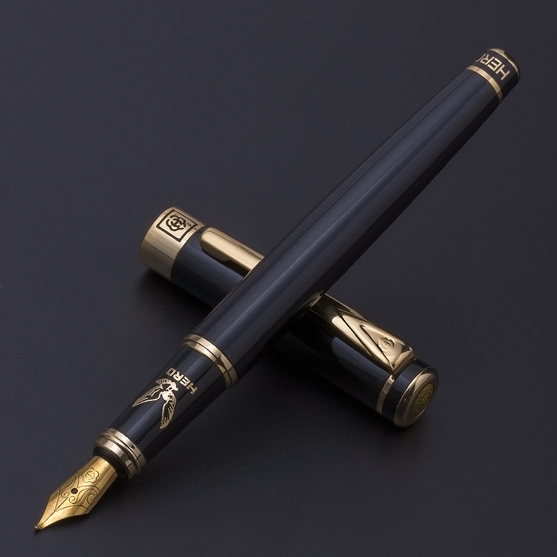 Free Engraved Gold Clip Black Fountain Pen Hero 0.5mm Iridium Nib 0.8mm Bent Nib Metal Writing Ink Pens Business Gift with A Box 6203 black business metal fountain pen nib medium gold trim arrow clip school supplies hot