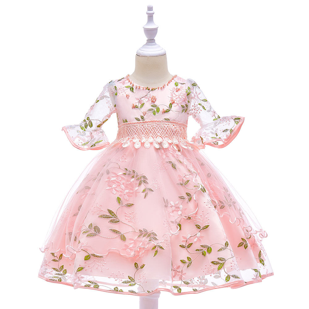 Ball Gown Pink O-Neck Pattern Flower Bow Bling Sequined Kids Princess Flower Girls Dress Pageant Party