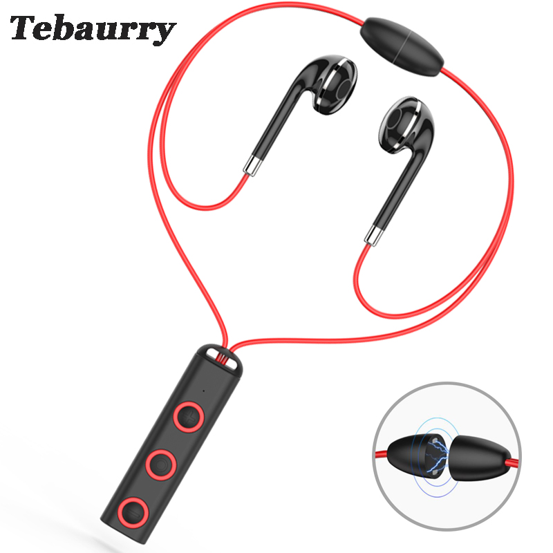 Tebaurry Bluetooth Earphone Wireless Headset Magnetic Neckband Sport Bluetooth Headphone with Mic for phone iphone xiaomi