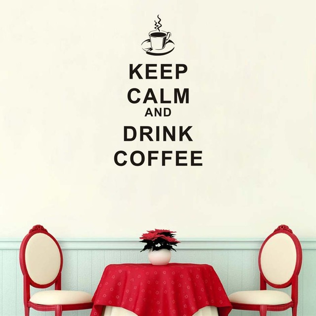 keep calm drink coffee vinyl wall sticker for kitchen dining hall