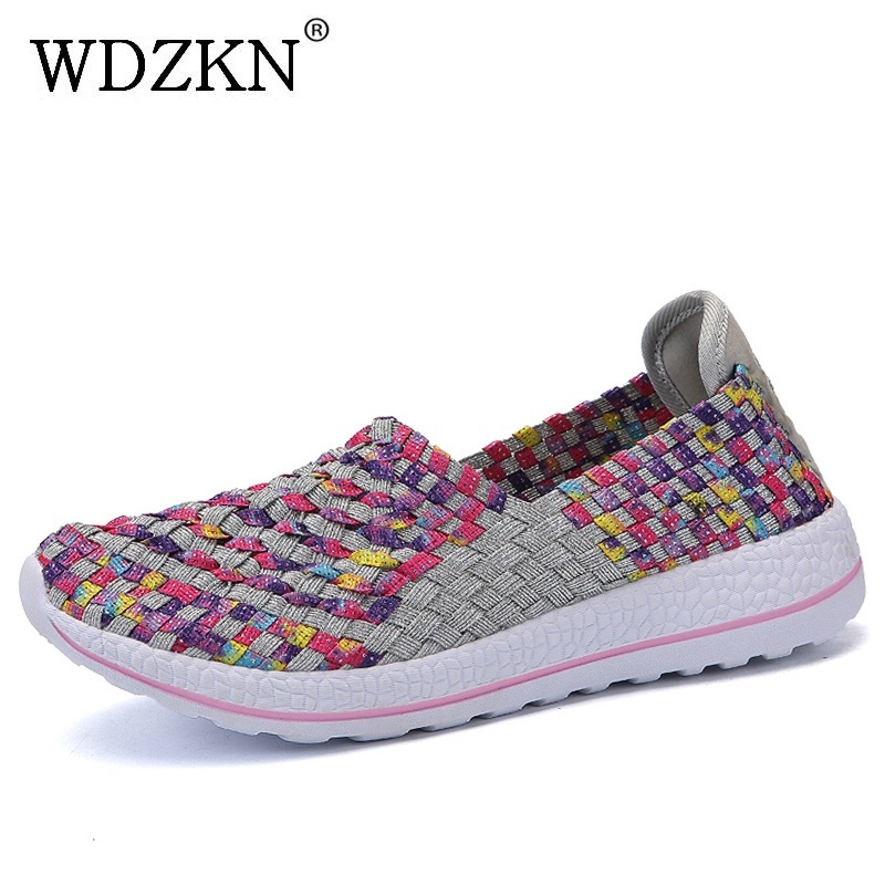 WDZKN 2018 Fashion Woven Women Casual Shoes Lightweight Breathable Slip On Flat Shoes Mi ...