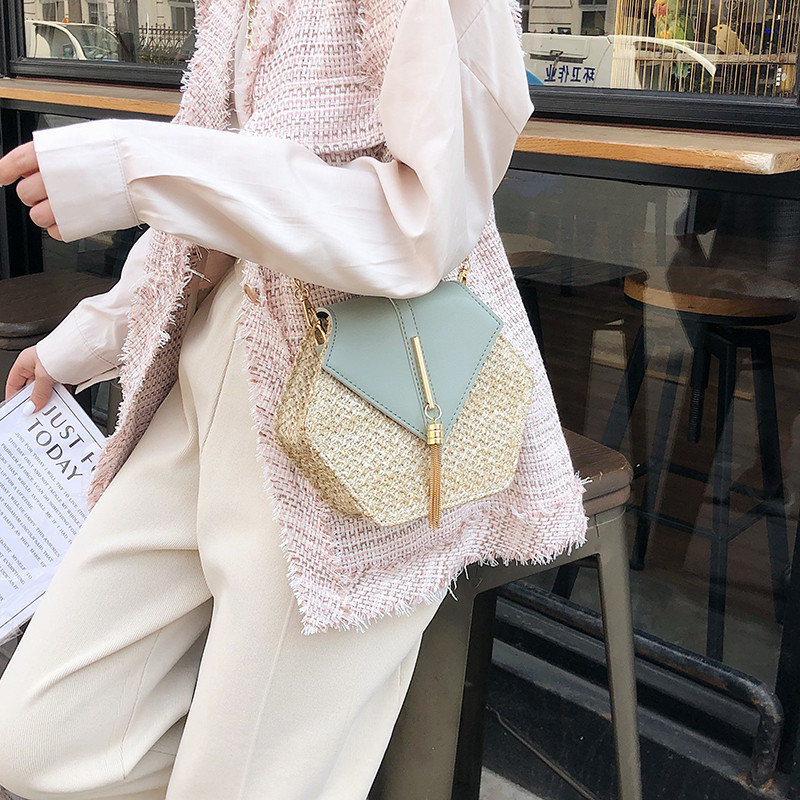 Hexagon Mulit Style Straw+leather Handbag Women Summer Rattan Bag Handmade Woven Beach Circle Bohemia Shoulder Bag New Fashion 15