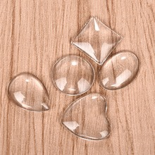 Round Oval Square Heart Teardrop Clear Cabochons Flat Back Transparent Glass for DIY Jewelry Making Handmade Pendant Findings