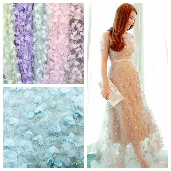 3D Chiffon Plant Flowers Cloth Patchwork Needlework Textile Sew Fabric DIY Handmade Lace Fabric Applique For Wedding Background