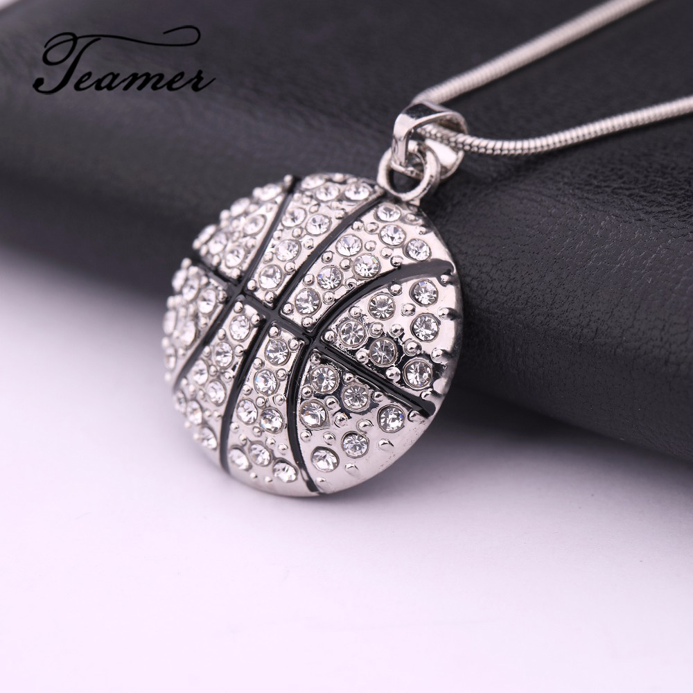 Teamer Basketball Pendant Necklace One-sided Crystal Necklace Jewerly Accessories Gifts for Friend Basketball Enthusiast