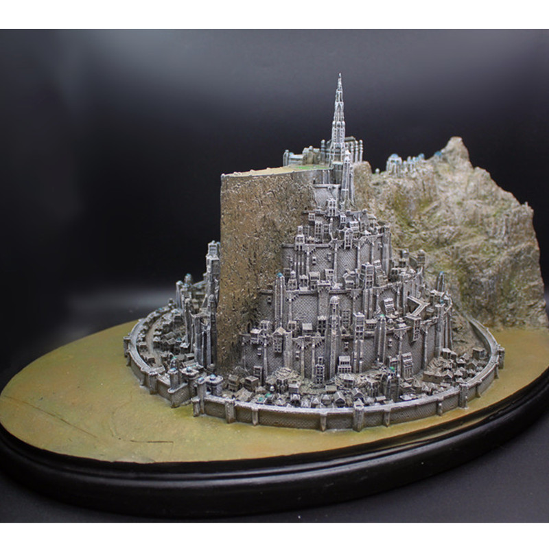 The Lord Of The Rings Resin Statue The Hobbit Minas Tirith The White City Decoration Action Figure Model Giocattolo G1475 new women elegant white dress up clothes lord of the rings the hobbit lady galadriel cosplay costume fariy dress customized