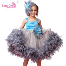 Hot Sale Girls Floral Feather Sleeceless Dress Children Wedding Easter Party Evening Dresses For 2-7 Years Old Kids