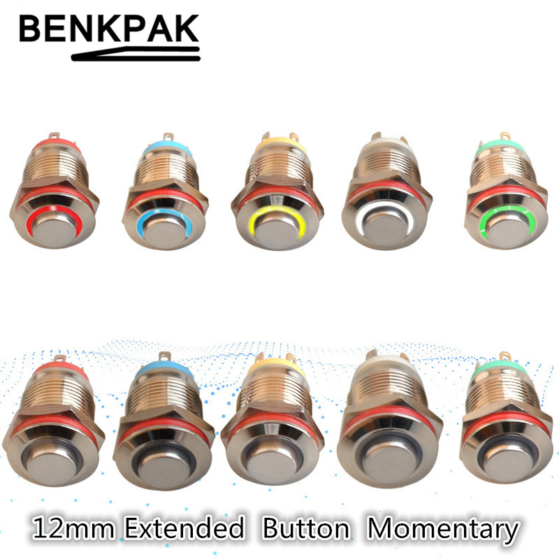 Extended Button12MM With LED 3V 5V 12V 24V 220V Metal Button Switch Momentary Push Button Auto Reset Waterproof Illuminated