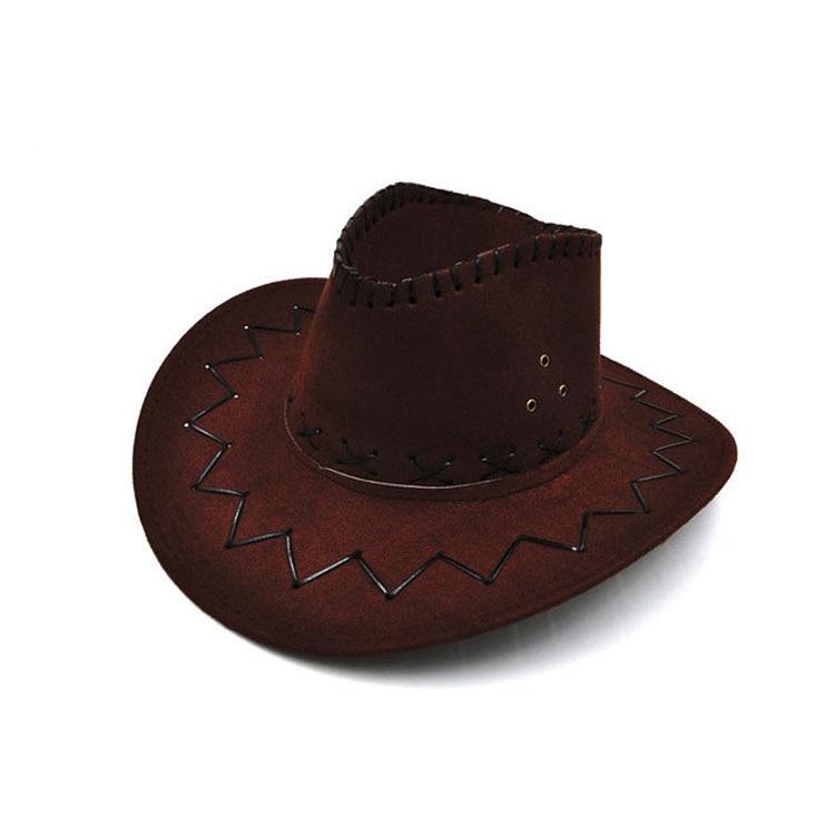 100pcs/lot Wide Brim Cowboy Hat Suede Look Wild West Fancy Dress Men Girls Solid Colors Gorros Cap Women's Hats Chapeau Femme 6