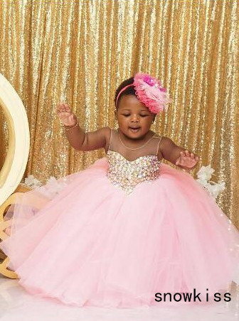 Puffy pink tulle south arabic tutu flower girl dress crystals rhinestones baby infant bling sparkly birthday