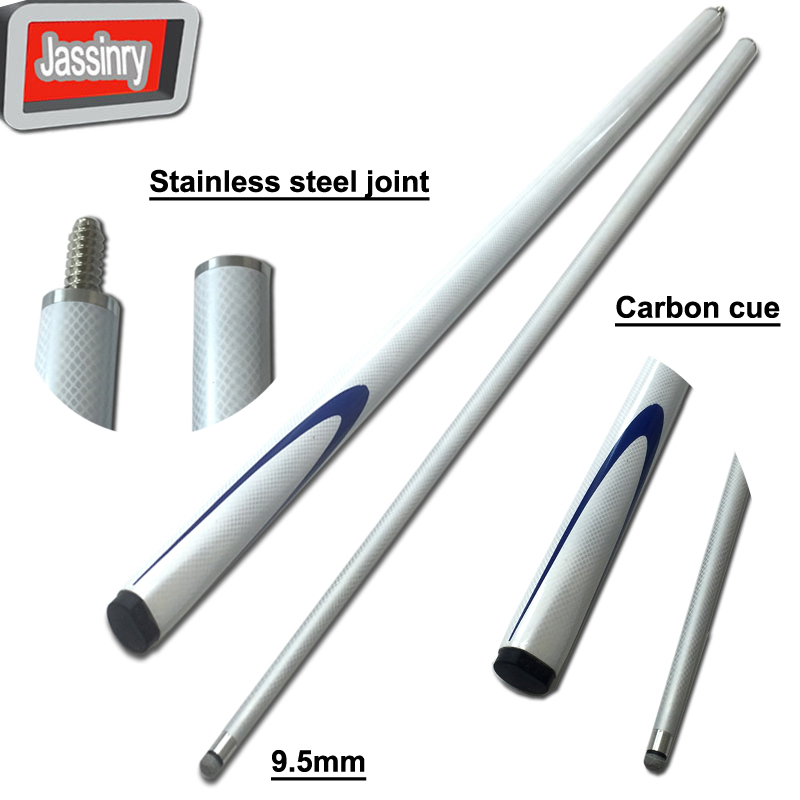 free shipping 9.5mm white carbon snooker cues 1/2 split stainless steel joint Pool Billiards cue sticks Billiards accessories