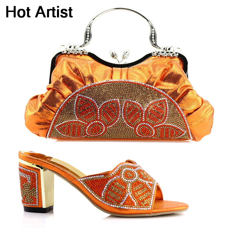 Hot Artist Fashion Women Orange Shoes And Bag Set Italian Matching Shoe And Bag Set African Shoes And Matching Bags Set YK-90 italian shoes with matching bag new design african pumps shoe heels fashion shoes and bag set to matching for party gf25
