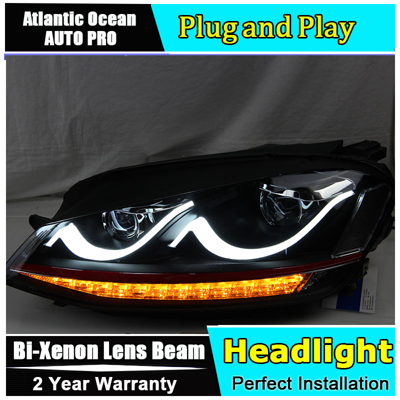 Car Styling VW Golf7 headlights 2013-2015 Volks Wagen Golf 7 led headlight flash turn signal drl HID KIT Bi-Xenon Lens low beam hireno headlamp for volkswagen golf7 golf 7 mk7 2014 headlight headlight assembly led drl angel lens double beam hid xenon 2pcs