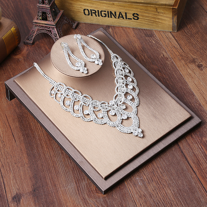 Bridal Jewelry Sets Rhinestone Necklace Clip Earrings Set Wedding Engagement Jewelry Sets for Women graceful alloy rhinestone oval jewelry necklace for women