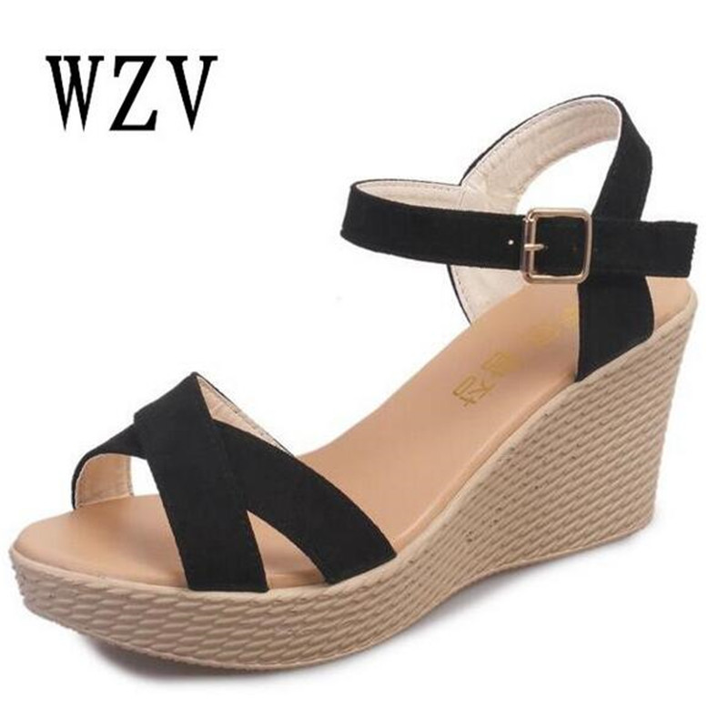Shoes Women 2018 Summer New Sweet Buckle Open Toe Wedge Sandals Floral high-heeled Shoes Platform Sandals B49 vtota new summer sandals women shoes woman platform wedge sweet flowers buckle open toe sandals floral high heeled shoes q75