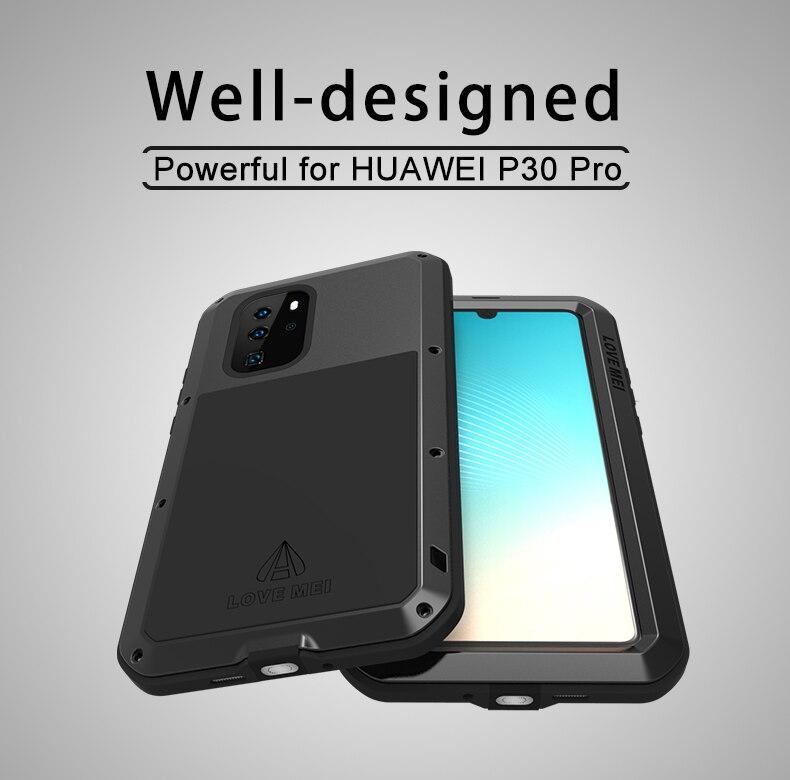 AMOUR MEI Métal Étanche étui pour Huawei P30 pro Antichoc Couverture Pour Huawei P30 Pro Cas En Aluminium Protection P30 pro - 2