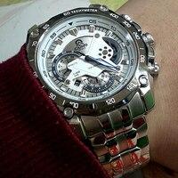 Реальные фотографии выстрел Для мужчин Спорт Полный Сталь кварцевые часы Лидер продаж роскошные Повседневное Бизнес модные наручные часы