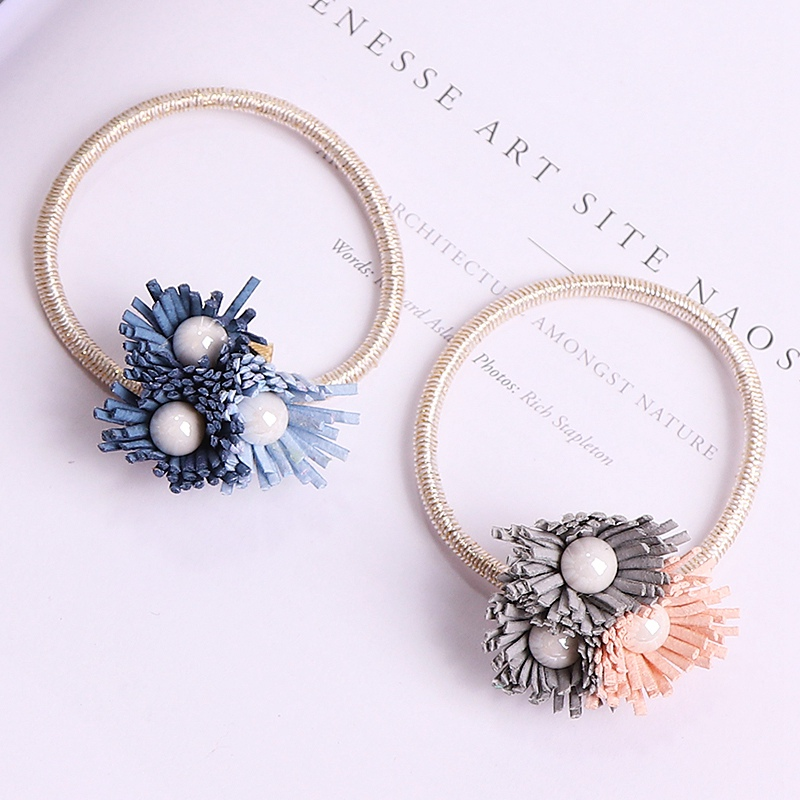 2017 New Arrival Fashion Flower Hair Ropes For Women Luxury Brand Pearl Tassel Ladies Elastic Hair Band Hair Accessories Ns050 metting joura vintage bohemian ethnic tribal flower print stone handmade elastic headband hair band design hair accessories