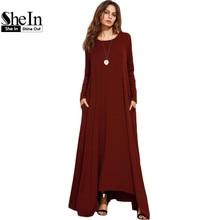 SheIn Burgundy Spring Long Sleeve Winter Dresses Women Dress 2016 Loose Asymmetrical Round Neck Shift Long Maxi Dress