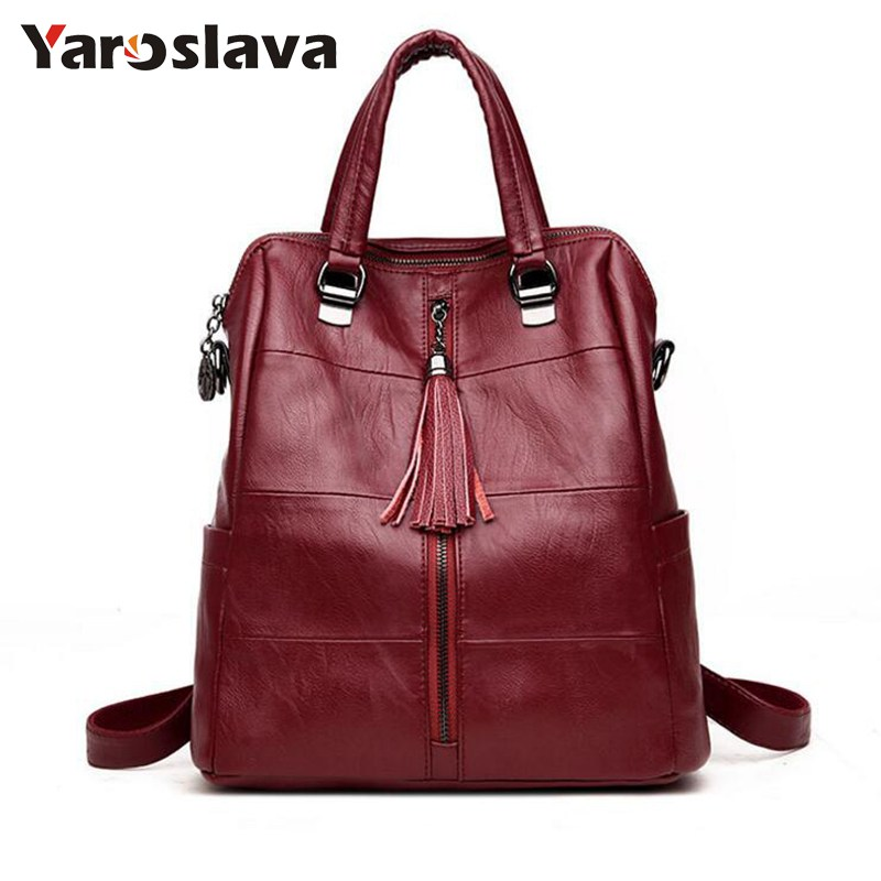 Women Zipper School Bag Leather Tassel Shoulder Bag Large Capacity Backbag Female Multifunction Backpack Girl Travel Bag LL567
