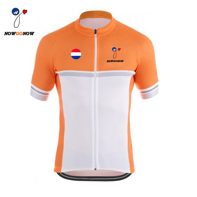 a4f76287a Orange 2017 cycling jersey NOWGONOW team wear bike clothing wear white black  riding ropa ciclismo bicicleta Holland Netherlands