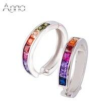 A & N de La Joyería de Plata Pura 925 pendientes del aro de la joyería de la vendimia multicolor piedra de LA CZ para las mujeres pendientes de la boda joyería
