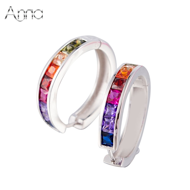 A&N Silver Jewelry Pure 925 sterling silver hoop earrings jewelry vintage multicolor CZ stone for women earrings wedding jewelry