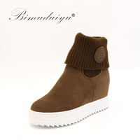 2015 New European Style Fashion Ladies Wear Warm Boots In Two Cylinder Flat With The Increase