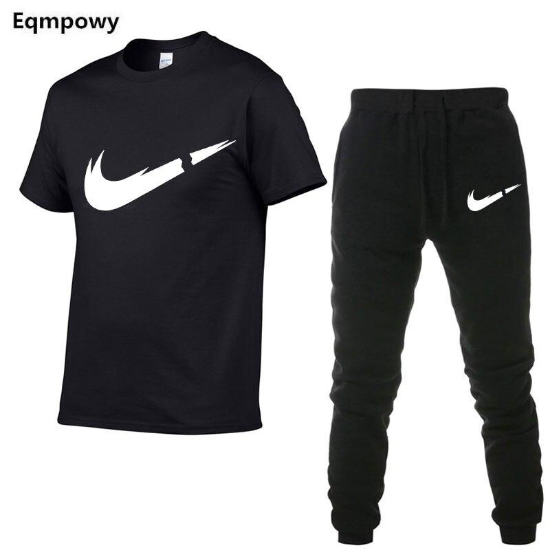 2a6ab3fa7e3 2019 летняя новая мужская футболка спортивный костюм повседневные костюмы  Спортивная одежда мужские комплекты Топы + брюки