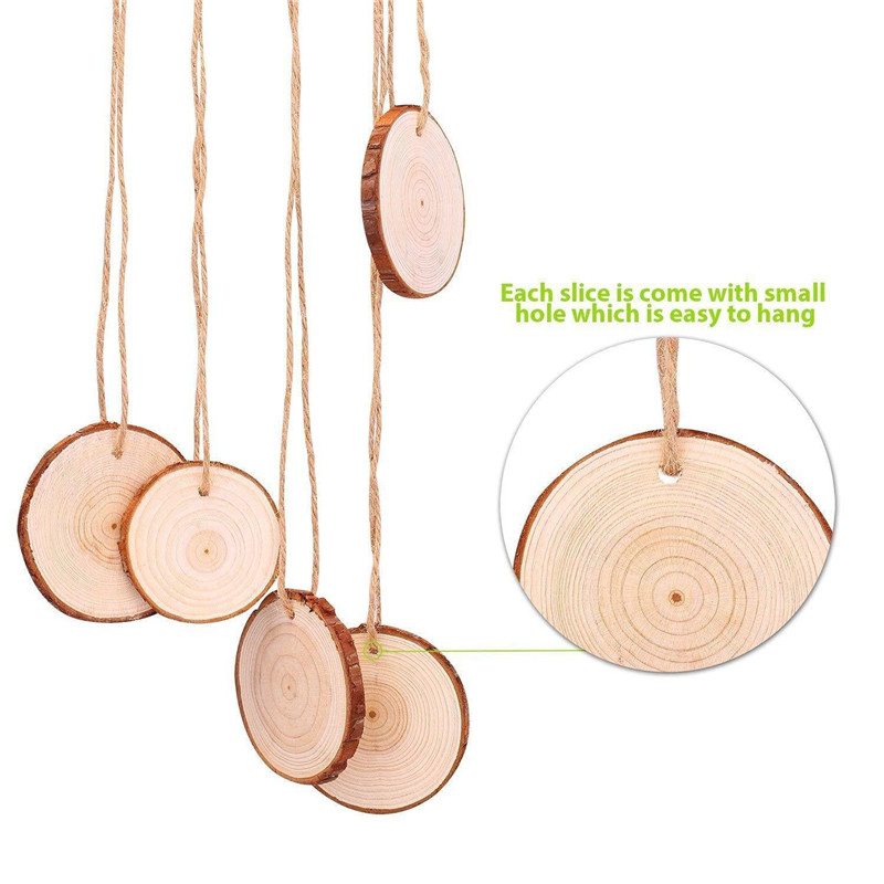 30pcs 4-7cm Unfinished Wood With Hole Natural Round Wood Slices Circles With Tree Bark Log Discs For Art Crafts Home Decoration