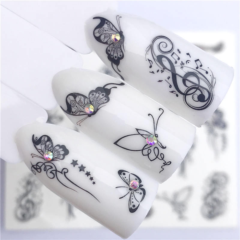 WUF 1 PC Hot Nail Sticker Black Butterfly Note Beauty Water Transfer Stamping Nail Art Tips Nail Decor Manicure Deca