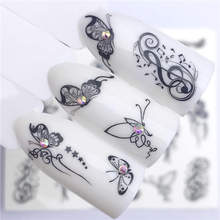 WUF 1 PC Hot Nail Sticker Black Butterfly Note Beauty Water Transfer Stamping Nail Art Tips Nail Decor Manicure Deca(China)