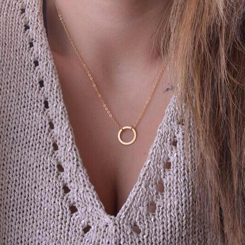 Circle Necklace For Women Minimalist Pendant Gold Color Chain Choker Necklaces KARMA Gift Card Mothers Day