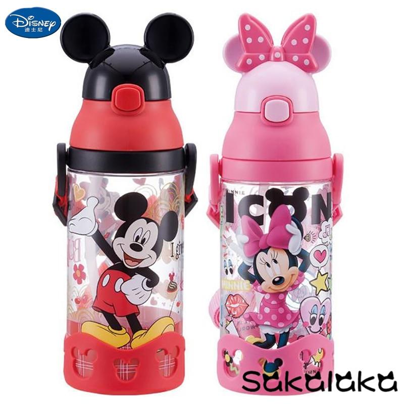500ml Disney BPA Free Safe Leakproof Straw 3D Mickey Minnie Cartoon Kids Camping Drinking Water Bottles Mickey Baby Space Bottle