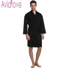 Avidlove Brand Bath Robe Men Autumn Long Sleeve Nightgown Robe Casual Solid Night Robe With Pockets Sleepwear Kimono Robe S-XL
