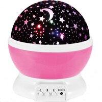 RUZK20 Room Novelty Night Light Lamp Rotary Flashing Starry Star Moon Sky Star Projector Kids Baby