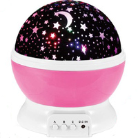 RUZK20 Room Novelty Night Light Lamp Rotary Flashing Starry Star Moon Sky Star Projector Kids Baby