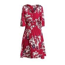 385a157d62 Lato Red Sexy sukienka na imprezę kobiety Vintage Floral V Neck plisowane  linia sukienki kobieta Party
