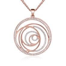 Винтажное розовое золото полые круглые Цветочные Подвески ожерелье