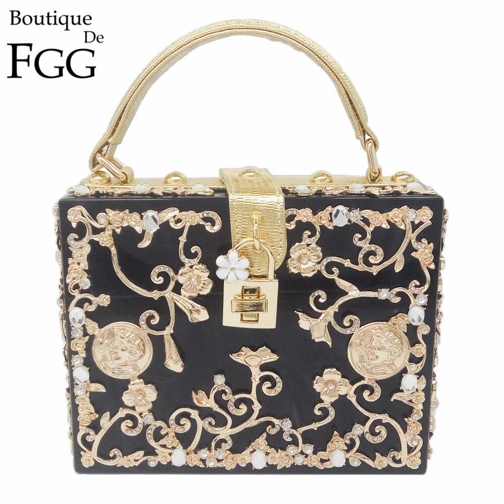 Boutique De FGG Fashion Crystal Flower Donna Nero acrilico spalla Borsa a tracolla Hardcase da sera Totes Box pochette
