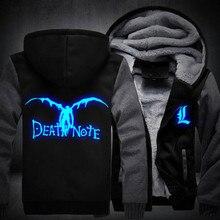 USA taille Nouveau Death Note Lumineux Veste Pulls Molletonnés Épaississent À Capuche Manteau Casual Clothing